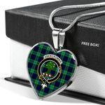 Scottish Abercrombie Clan Badge Tartan Necklace Heart Style