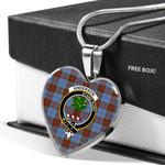 Scottish Anderson Modern Clan Badge Tartan Necklace Heart Style