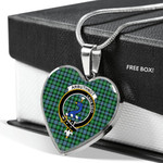 Scottish Arbuthnott Clan Badge Tartan Necklace Heart Style