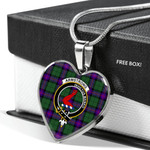 Scottish Armstrong Clan Badge Tartan Necklace Heart Style