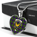 Scottish Arnott Clan Badge Tartan Necklace Heart Style