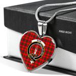 Scottish Bain Clan Badge Tartan Necklace Heart Style