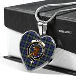Scottish Baird Clan Badge Tartan Necklace Heart Style