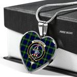 Scottish Bannerman Clan Badge Tartan Necklace Heart Style