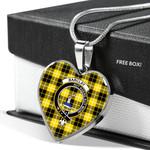Scottish Barclay Clan Badge Tartan Necklace Heart Style