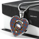 Scottish Bethune Clan Badge Tartan Necklace Heart Style