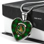 Scottish Beveridge Clan Badge Tartan Necklace Heart Style