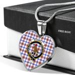 Scottish Boswell Clan Badge Tartan Necklace Heart Style