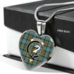 Scottish Brisbane Clan Badge Tartan Necklace Heart Style