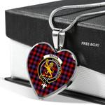 Scottish Broun Clan Badge Tartan Necklace Heart Style