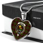 Scottish Buchan Clan Badge Tartan Necklace Heart Style