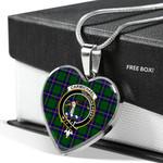 Scottish Carmichael Clan Badge Tartan Necklace Heart Style