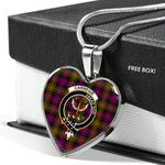 Scottish Carnegie Clan Badge Tartan Necklace Heart Style