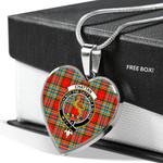 Scottish Chattan Clan Badge Tartan Necklace Heart Style