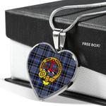 Scottish Clark Clan Badge Tartan Necklace Heart Style