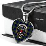 Scottish Colquhoun Clan Badge Tartan Necklace Heart Style