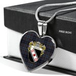 Scottish Conway Clan Badge Tartan Necklace Heart Style