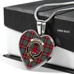 Scottish Crawford Clan Badge Tartan Necklace Heart Style
