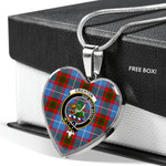Scottish Crichton Clan Badge Tartan Necklace Heart Style