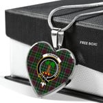 Scottish Crosbie Clan Badge Tartan Necklace Heart Style
