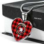 Scottish Cunningham Modern Clan Badge Tartan Necklace Heart Style