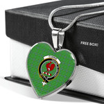 Scottish Currie Clan Badge Tartan Necklace Heart Style