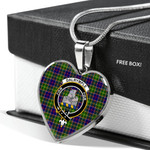 Scottish Dalrymple Clan Badge Tartan Necklace Heart Style