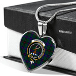 Scottish Davidson Modern Clan Badge Tartan Necklace Heart Style
