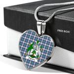 Scottish Dignan Clan Badge Tartan Necklace Heart Style