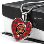 Scottish Drummond Modern Clan Badge Tartan Necklace Heart Style