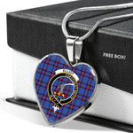 Scottish Elliot Modern Clan Badge Tartan Necklace Heart Style