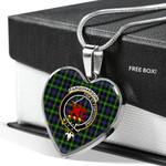 Scottish Farquharson Modern Clan Badge Tartan Necklace Heart Style