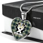 Scottish Fitzpatrick Clan Badge Tartan Necklace Heart Style