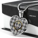 Scottish Glendinning Clan Badge Tartan Necklace Heart Style