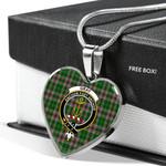 Scottish Gray Hunting Clan Badge Tartan Necklace Heart Style