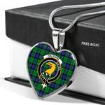 Scottish Haldane Clan Badge Tartan Necklace Heart Style