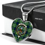 Scottish Haliburton Clan Badge Tartan Necklace Heart Style