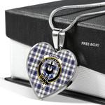 Scottish Hannay Clan Badge Tartan Necklace Heart Style