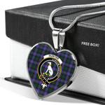 Scottish Hunter Modern Clan Badge Tartan Necklace Heart Style