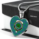 Scottish Irvine Ancient Clan Badge Tartan Necklace Heart Style