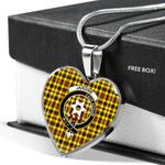 Scottish Jardine Clan Badge Tartan Necklace Heart Style