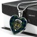 Scottish Johnstone Clan Badge Tartan Necklace Heart Style