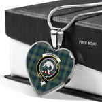 Scottish Kennedy Modern Clan Badge Tartan Necklace Heart Style