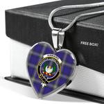 Scottish Kinnaird Tartan Clan Badge Tartan Necklace Heart Style