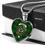 Scottish Kinnear Tartans Clan Badge Tartan Necklace Heart Style