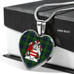 Scottish KIRBY Clan Badge Tartan Necklace Heart Style