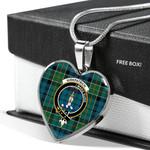 Scottish Kirkpatrick Clan Badge Tartan Necklace Heart Style