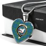 Scottish Lockhart Clan Badge Tartan Necklace Heart Style