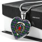 Scottish Logan Ancient Clan Badge Tartan Necklace Heart Style