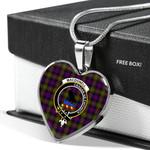 Scottish MacDonnell Clan Badge Tartan Necklace Heart Style